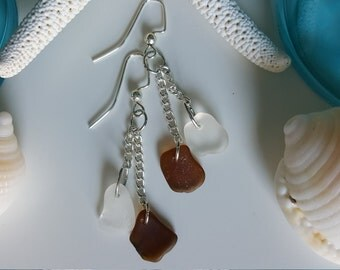 Root Beer Brown and Frosted Beach Glass Earrings