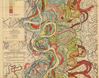 1944 Fisk Mississippi Meander Map Ancient River Sheet Louisiana Missouri 7 of 15- Reprint
