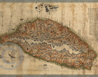 1880 Vintage Artistic Antique Chinese Map of Taiwan - Reprint