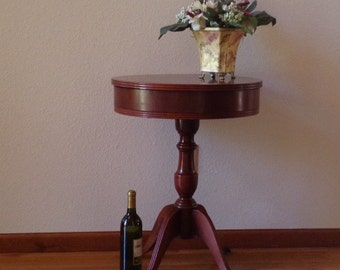 Vintage Drum Sewing Table, Mahogany Wood Drum Table, Round Table, Side Table ,