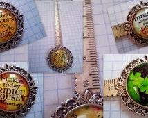 Inspirational Statement or Lucky Clover Cabochon Vintage Flower Bookmark  Ruler