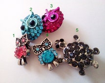 12 mm Rhinestone Owl/Turtle Women Children Bracelet Necklace Ring Earrings Hair Key Ring Bag Zipper Chain Cellphone Decor Snap Button