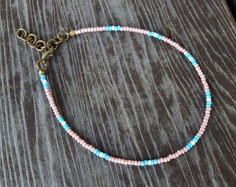 Pink Seed Bead Anklet, thin anklet, small beaded anklet, simple minimal anklet, Czech glass, tiny beads anklet, Original OrangeKnot