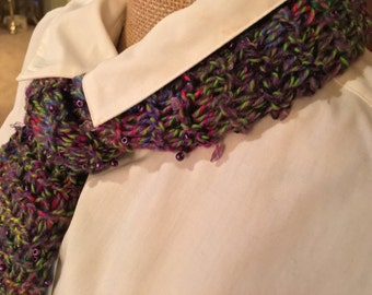 Hand knitted beaded scarf