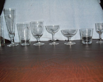 96 - Piece  Vintage 1950's Sasaki Wheat Etched Smooth Crystal Glassware