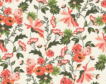 Apricot and Persimmon Main Cream by Riley Blake Designs - Floral Flowers Coral - Quilting Cotton Fabric - by the yard fat quarter half