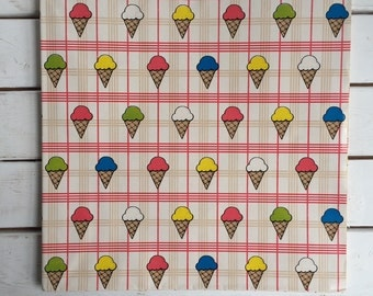 Vintage 80's Ice Cream Cone Wrapping Paper