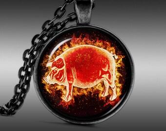 Pig Necklace, Farm Jewelry, Swine Pendant  Necklaces Pendants Jewellery   FRW224