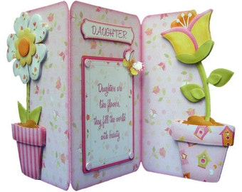 Any Occasion Card Like Flowers Tri Fold Shaped Handcrafted 3D Decoupage Card Special Cards Other Options Available Daughter Sister Friend