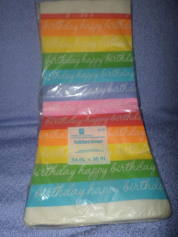Vintage Rainbow Tablecloth Happy Birthday American Greetings Nip