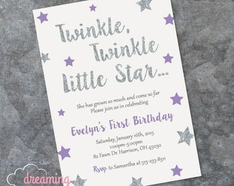 Twinkle Twinkle Little Star Birthday Invitation - Any Age, Any Color