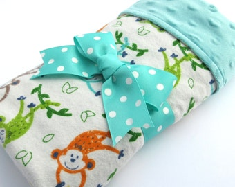 Baby Stroller Blanket - Monkey Baby Blanket - Gender Neutral Baby Blanket - Aqua, Orange, Green Swinging Monkey Print - Aqua Minky