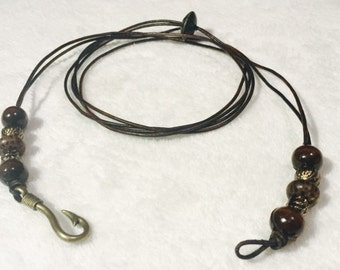 Beaded Leather Cord Wrap Bracelet with Hook Charm Fastener