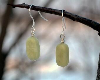 Jade earrings, Jade drop earrings, Jade silver earrings, French hook jade earrings, Silver earrings with jade, Green jade earrings.