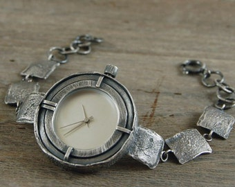 20% off coupon code JULY20  handcrafted silver watch, rough raw oxidized silver watcht