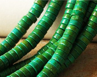 C20 Green Turquoise Beads Supplies, Full Strand 6 8 10mm Rondelle Turquoise Spacer Beads for DIY Jewelry Making