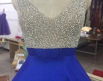 Royal Blue V neck pageant dress for teens