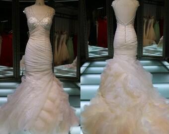 Bride Dress Layered Mermaid Sweetheart Royal Blue And White Wedding Dress/Open Back Wedding Dresses