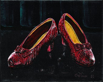 Ruby Slippers, Giclee Print Signed Artwork, Folk Art Painting, Colorful Wall Art, Womens Shoes