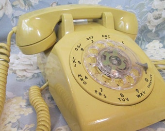 Vintage ROTARY Telephone ~ Golden YELLOW w/ Cords, Desk Phone ~ Untested