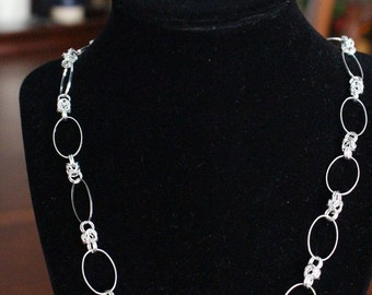 Oval and Byzantine Chainmaille Necklace