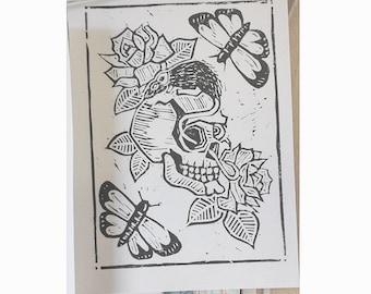Dead Pretty Hand printed Lino cut