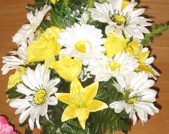 Silk Cemetery Arrangement - Memorial Flowers - Cemetery Vase - Spring & Summer Grave Flowers - Grave Decoration - Silk Floral Cemetery Cone