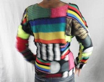 Vibrant Rainbow Techno Handmade Patchwork Jumper  Size M