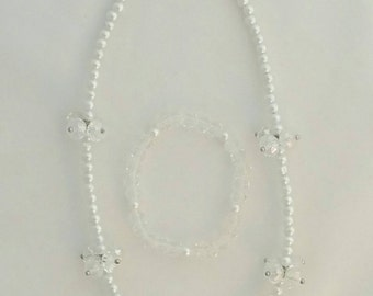 Cream Crystal Pearl Beaded Baby Toddler Girl Necklace Bracelet Set Ready to Ship