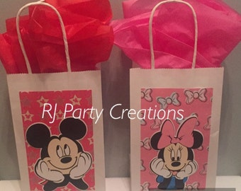 6 Mickey and friends Favor Bags with Die Cuts