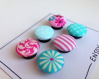 Magnets - Aqua and Pink Floral
