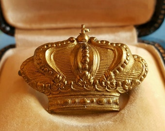 Vintage French Brass Crown Pin Brooch  1930s