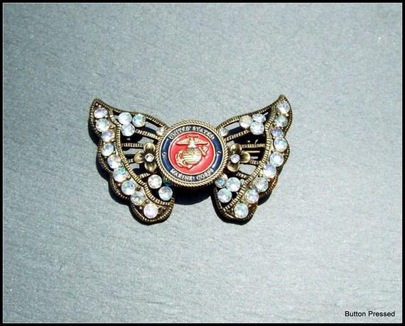us marine corps emblem butterfly brooch mom wife fiance. Black Bedroom Furniture Sets. Home Design Ideas
