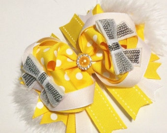 Yellow and grey ott hair bow
