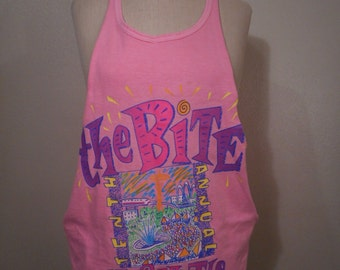 vintage 90s the bite of Seattle festival 1991 fluorescent bright pink cut off grunge tank top muscle tee