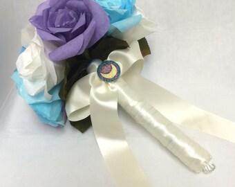 sailor moon bouquet, moon kingdom, bridal bouquet, paper roses, sailor moon, geek, geek wedding, sailor moon wedding, wedding bouquet, nerd