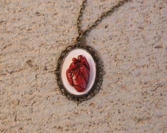 Vintage Pendant Anatomically Correct Heart , Anatomical Heart