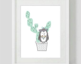 Childrens cactus print - cactus wall art - childrens Room Decor / Nursery Art Print / Childrens Interior Design/ cactus art/ cactus decor