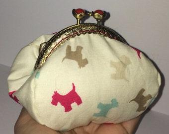 Purse, Coin Purse, fabric purse, framed purse, clasp purse, scottie dog purse
