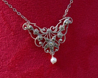 Butterfly, flower, Star, Marcasite and metal officer pendant