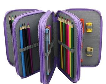 Pencil Case | 72 Pencil Holder Purple | Pencil Storage, Pencil Pouch, Pencil Box, Large Pencil Case Cute, Pencil Wrap, Colored Pencil Holder
