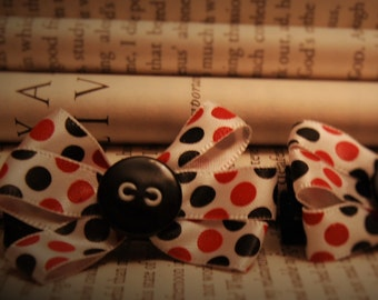 Black and Red Polka Dot Mini Bows ~ Rockabilly ~ Pinup