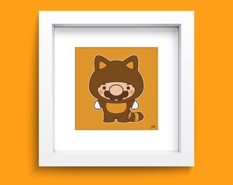 ArtPrint 8x8 - Super Mario Tanooki Nursery Children's Wall Art - Super Mario Tanooki Original Wall Print - Chibi Video Game Art