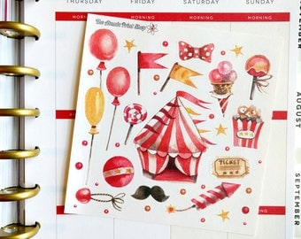 Watercolor Circus Deco Sticker Sticker Sheet for Erin Condren, Happy Planner, Scrapbooking, and more!