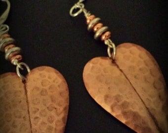 Copper Heart Earrings~ Artisan Jewelry