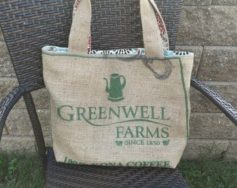Burlap Coffee Bag Tote - Green, Red, and Blue Floral Print