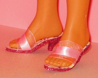 Tiffany Taylor shoes PINK SATIN Shoes for Tiffany Taylor, Magic Hair Crissy by Ideal, doll shoes, high heel shoes, fashion doll shoes
