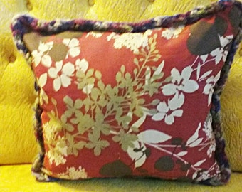 Decorative Pillow Hand Sewn Floral with Hand Knitted Binding. Very Fun!