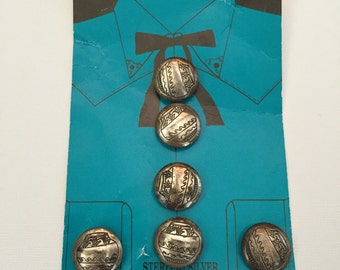 Sterling Silver Button Covers southwest motif Indian Design Aztec Indian