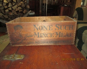 Antique Advertising Wooden Dovetailed Box! Superb Graphics All 4 Sides. None Such Mincemeat Like Mother Use To Make. Rare Highly Collectible